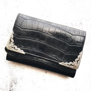 Brighton Vtg Croc Western Tri-Fold Leather Wallet